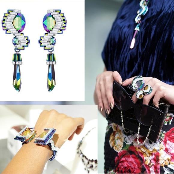 20890dda75df8 SWAROVKSI Fluorescent Multi Earrings Ring Bangle NWT